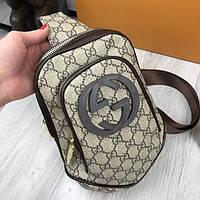 cedd40864b1f Стильная женская сумка бананка Gucci коричневая слинг через плечо эко кожа  унисекс качественная Гуччи реплика