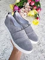 Серые слипоны мокасины балетки женские весна лето натуралки удобная обувь от производителя