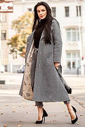 Зимнее удлиненное женское пальто из шерсти на утеплителе vN3235