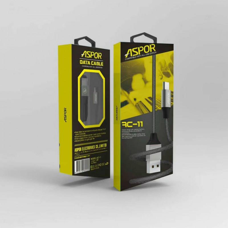 USB кабель Aspor - AC-11 micro 2.1A/ 1,2м - сірий