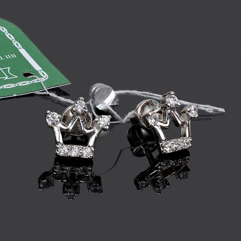 Серебряные гвоздики (пусеты) Корона