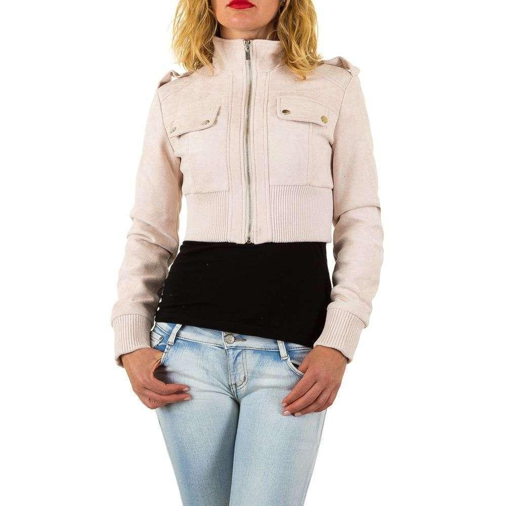 Куртка болеро женская с текстурой под замш (Европа), Пудровый