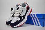 Кроссовки Adidas Falcon, белые с синим и красным, фото 2