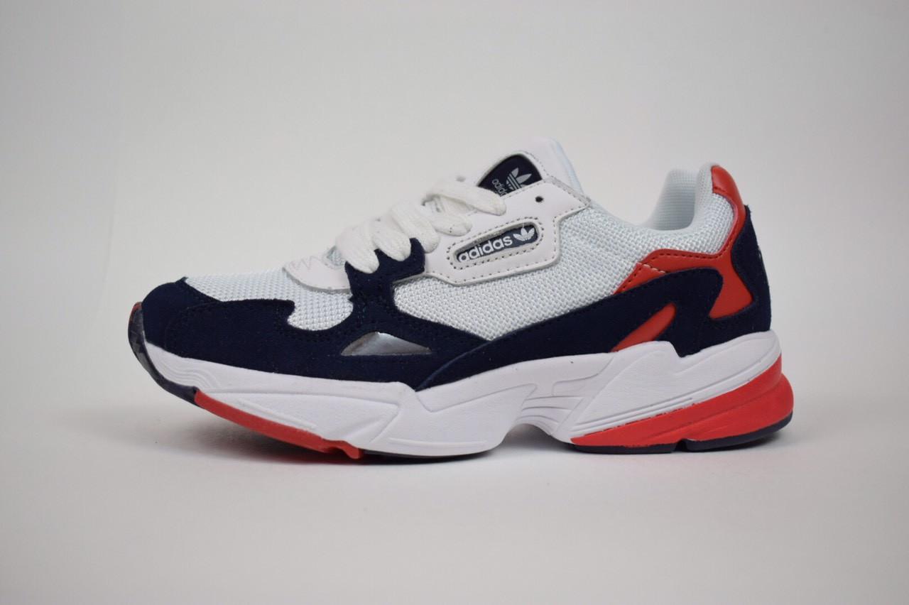 Кроссовки Adidas Falcon, белые с синим и красным