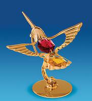 Позолоченная фигурка Колибри с цветными кристаллами Сваровски