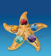 Позолоченная фигурка Морская звезда с цветными кристаллами Сваровски