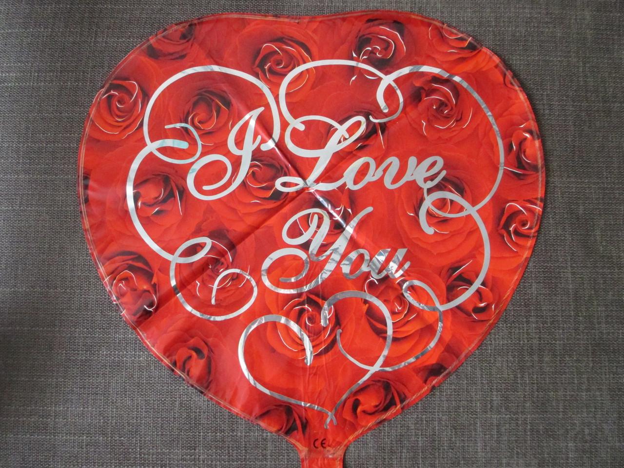 """Воздушные шары оптом. Шар фольгированый """"Сердце с розами"""""""
