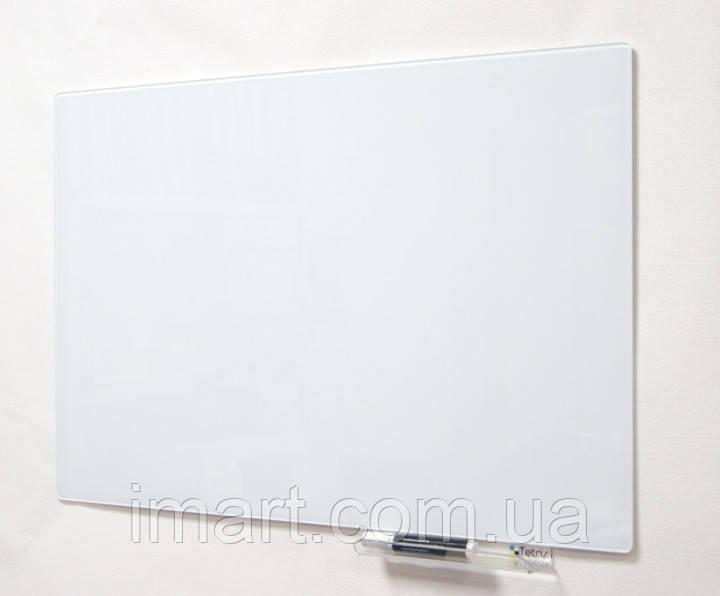 Магнитно-маркерная доска стеклянная 60х90 см. Белая. Скрытое крепление
