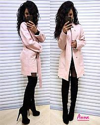 Полушерстяное женское пальто прямого кроя под пояс (в расцветках) vN3230