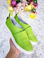 Салатовые слипоны мокасины балетки женские кожаные весна лето комфортная обувь женская обувь от производителя