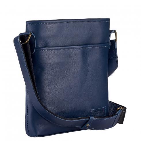 Чоловіча сумка з натуральної шкіри фірми Vittorio Safino,синя VS013