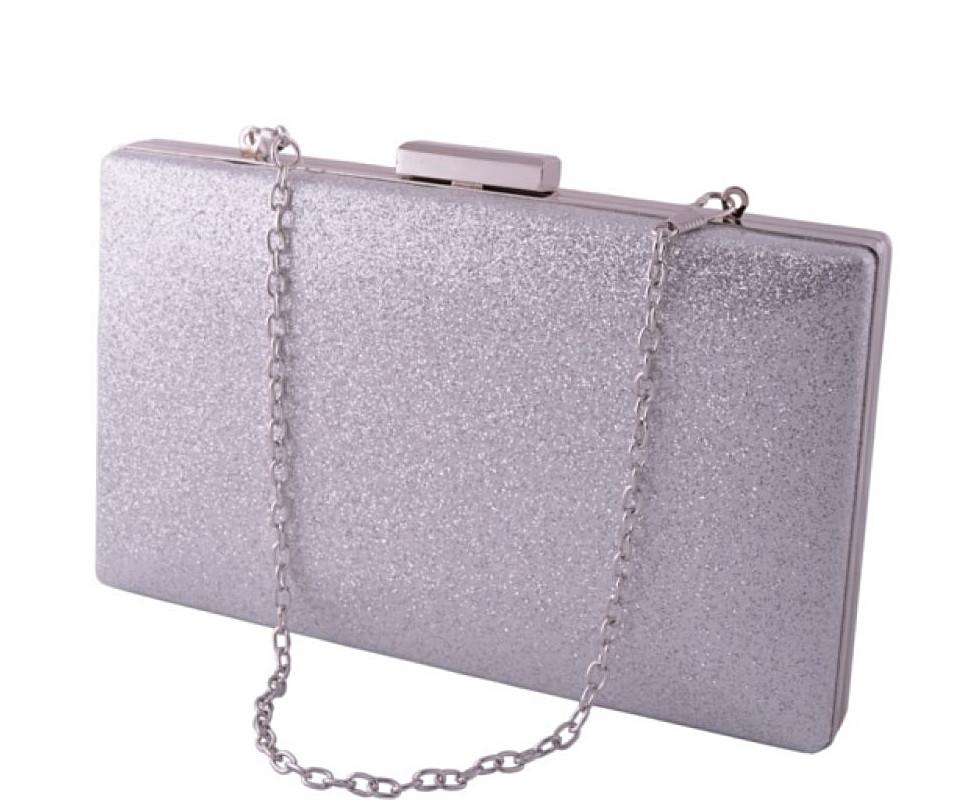 2b117545e3e7 Клатч женский серебряный из кожзама с блестками (арт.6914) - Интернет  магазин