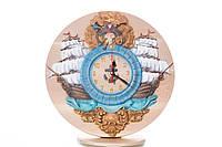 Часы резные из натурального дерева в морском стиле с кораблями и пиратом