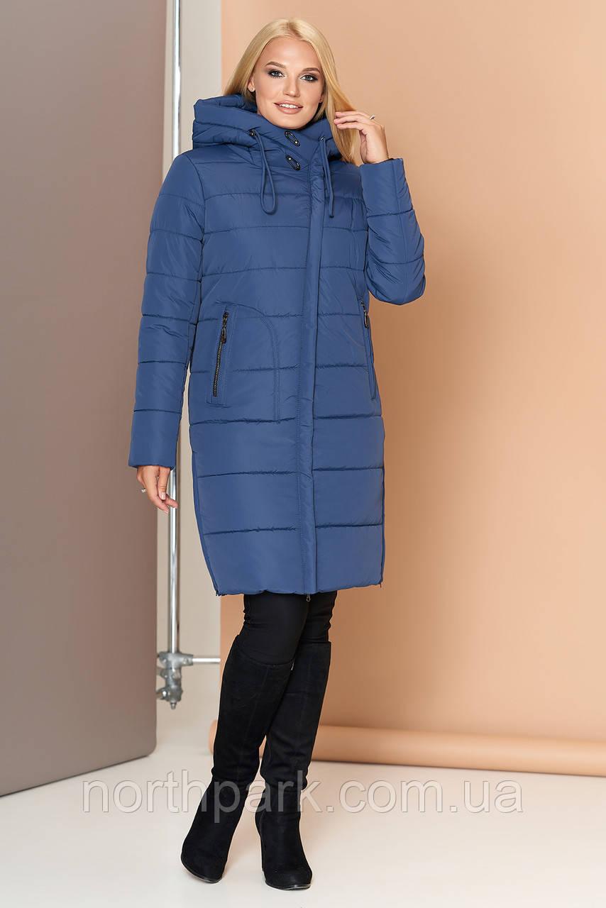 Довга зимова куртка VS 188, блакитна