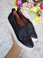 Черные слипоны мокасины балетки женские кожаные под рептилию качественная обувь весна лето 2019