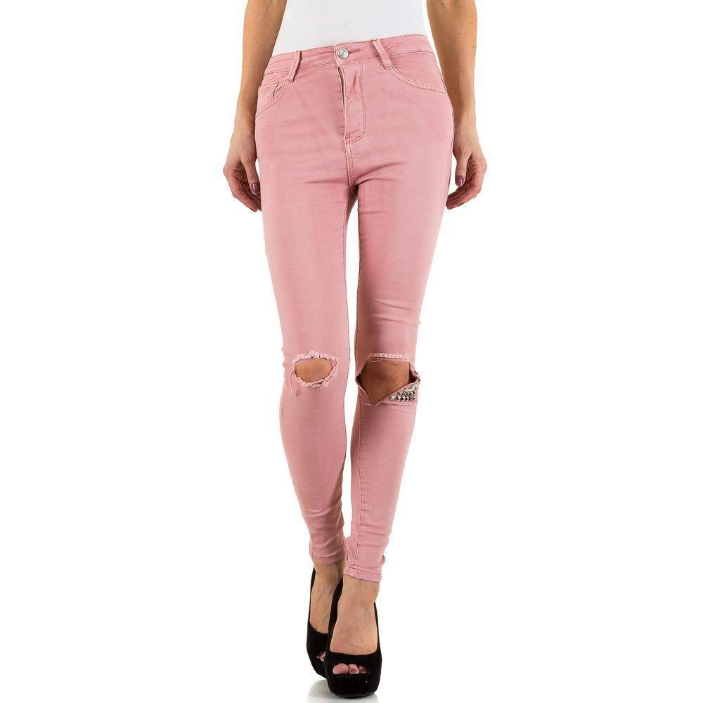 f7b3ed355997 Женские джинсы с рваными коленями и шипами Mybestiny (Германия), Розовый  купить оптом в ...