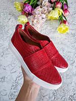 Красные слипоны мокасины балетки женские кожаные под рептилию качественная обувь весна лето 2019