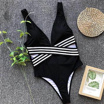 Сдельный женский купальник с резинкой декольте (черно-белый) S, M