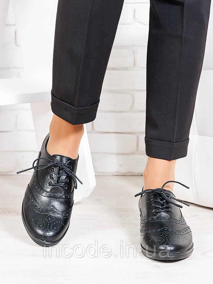 Oksford туфлі чорна шкіра 6648-28