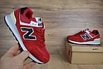 Женские кроссовки New Balance 574, замша + сетка, цвет - красный, фото 8