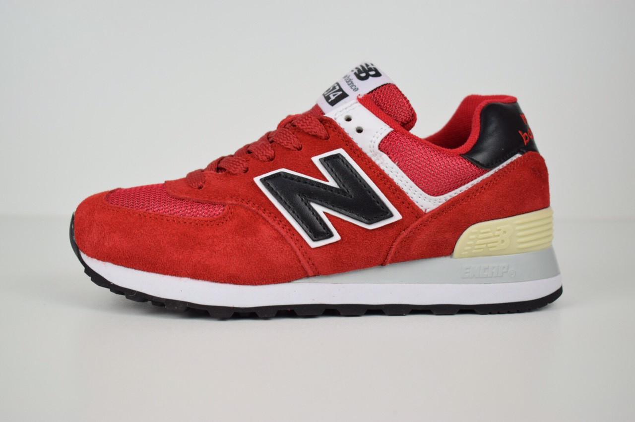 Женские кроссовки New Balance 574, замша + сетка, цвет - красный