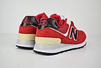 Женские кроссовки New Balance 574, замша + сетка, цвет - красный, фото 4