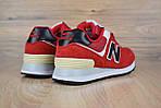 Женские кроссовки New Balance 574, замша + сетка, цвет - красный, фото 6