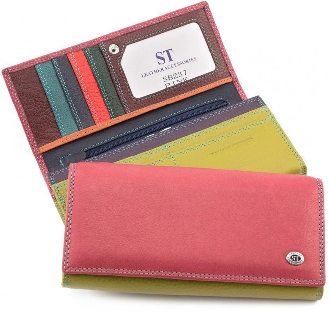 Розовый кошелек матовый кожаный ST высокого качества с внутренней металлической рамкой. SB237 Pink