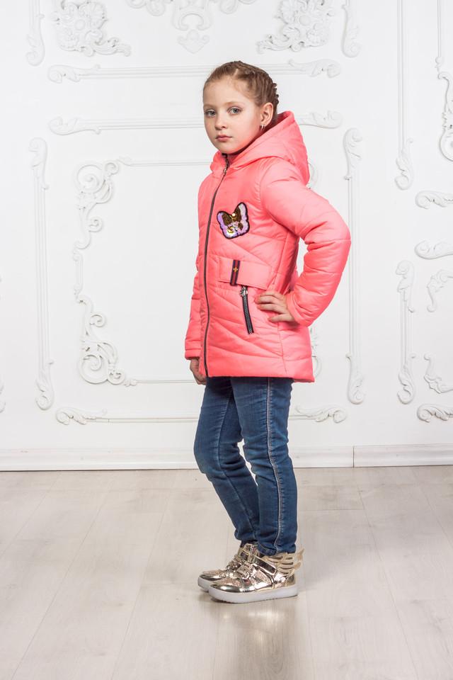 Демисезонная куртка для девочки цвет коралл от производителя