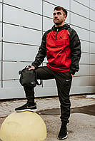 Спортивный костюм мужской в стиле Nike House/ Анорак + штаны + подарок! Черный+красный