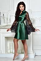 Женский атласный халат с роскошными кружевными рукавами Изумруд