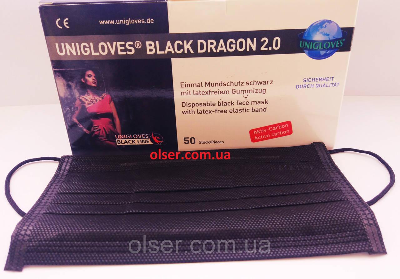 Защитные 4-х слойные маски с активированным углем Unigloves Black Dragon