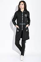Костюм женский спортивный (батал) с удлиненной кофтой на змейке  77PD877-1 (Черный)