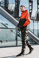 Спортивный костюм мужской в стиле Nike Classic / Анорак + штаны + подарок! Черный+оранжевый