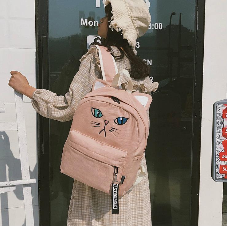Тканевый рюкзак с мордочкой котика