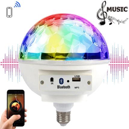 Светодиодный диско шар в патрон E27 c Bluetooth + Пульт, фото 2