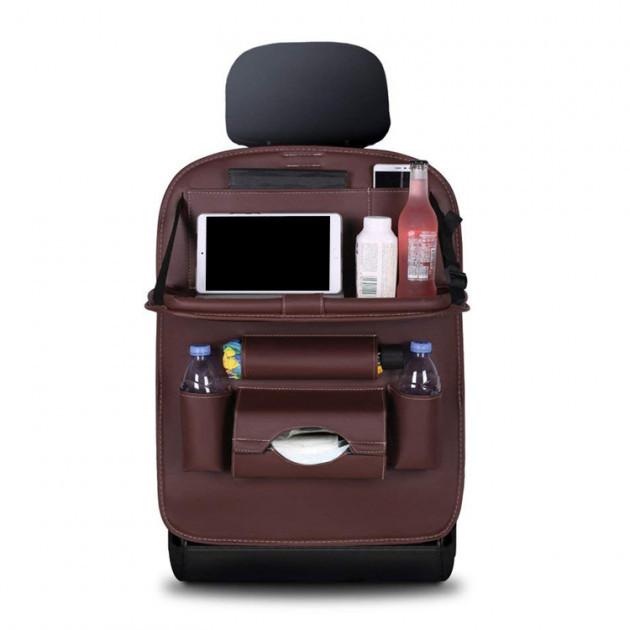 Soolu Авто Органайзер на спинку сидения в автомобиль коричневый. Аксессуары для авто