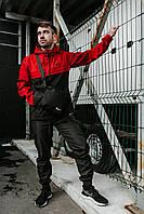 Спортивный костюм мужской в стиле Nike Classic / Анорак + штаны + подарок! Черный+красный