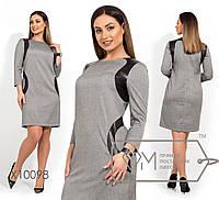 Платье-миди прямого кроя из поливискозы с рукавами 3/4 вставками из экокожи и круглым вырезом, 1 цвет