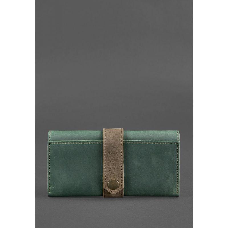 Кожаное женское портмоне 3.0 зеленое с коричневым