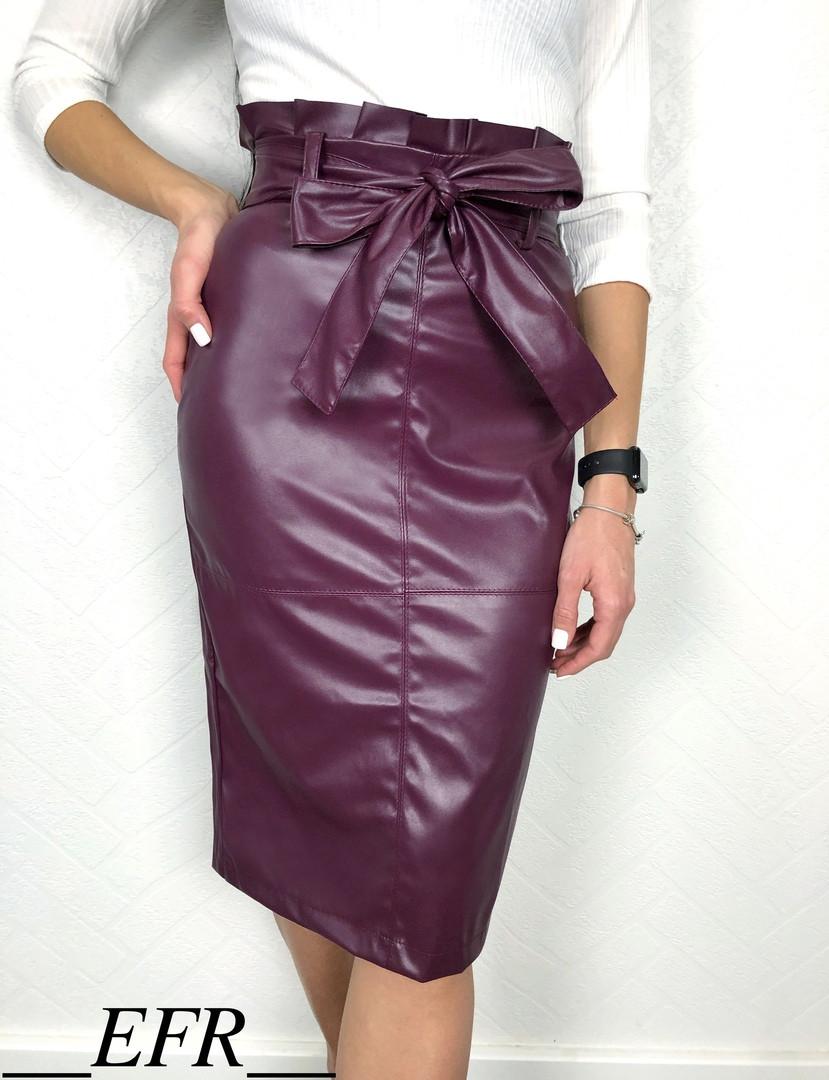 Женская юбка карандаш из стрейч кожи под пояс с завышенной талиейС-М, Л-ХЛ