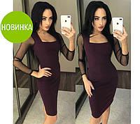 Приталенное платье с прозрачным рукавом, фото 1