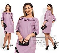 Платье прямого кроя из двунитки с напылением, круглым вырезом и рукавами 3/4, по лицевой стороне, 3 цвета