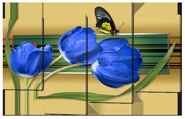 Модульная картина Interno Эко кожа Тюльпаны и бабочка 140x96см (A673XL)