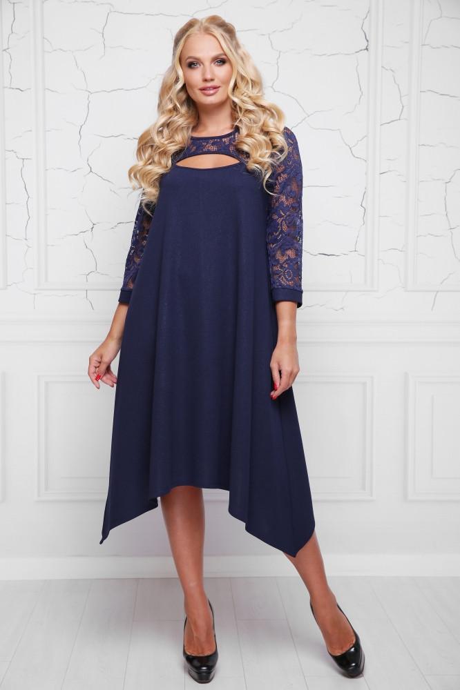117493aee36190d Темно-синее платье большого размера АНАБЕЛЬ ТМ Lenida 48-58 размеры -  Интернет-