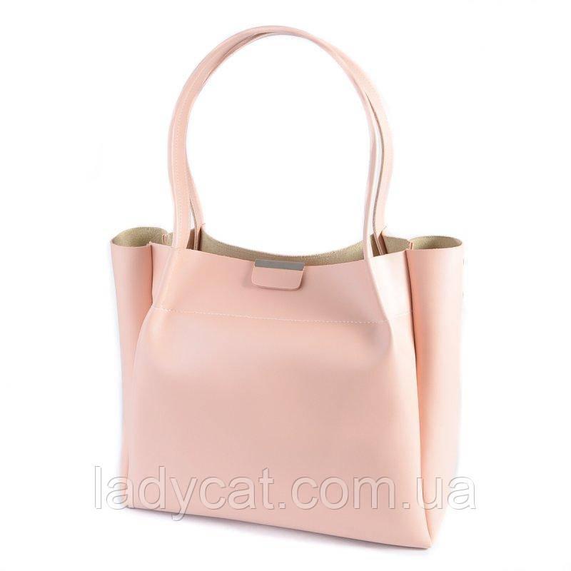 Женская сумка - шоппер нежно розового цвета