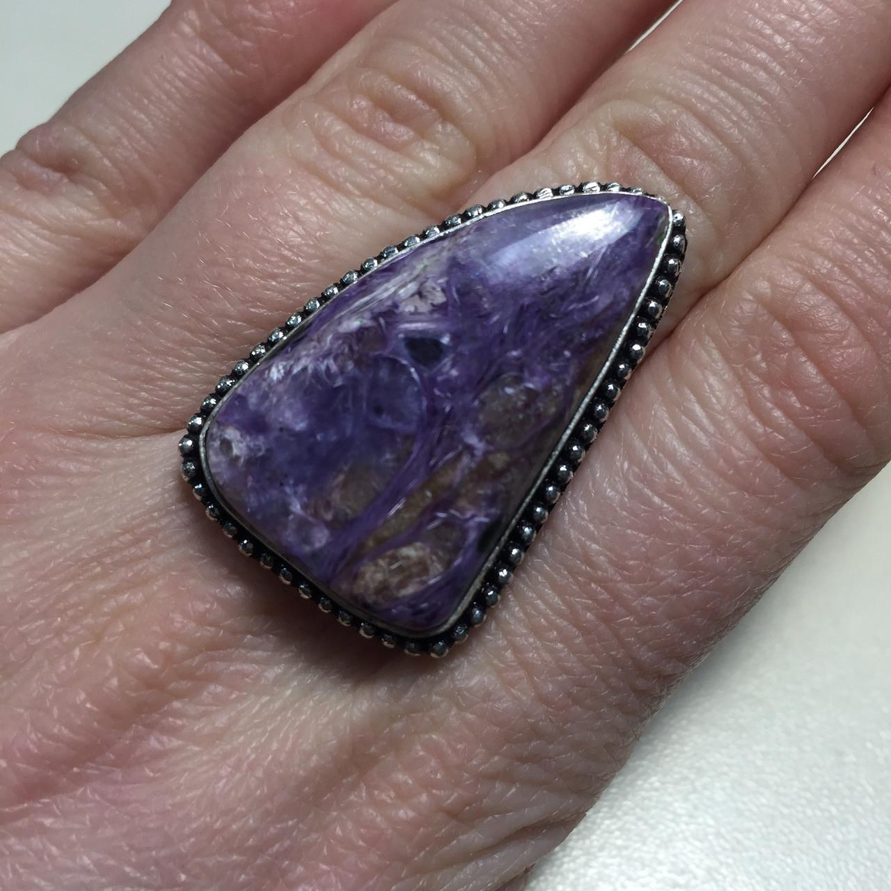 Красивое кольцо с чароитом размер 19. Кольцо с камнем чароит Индия