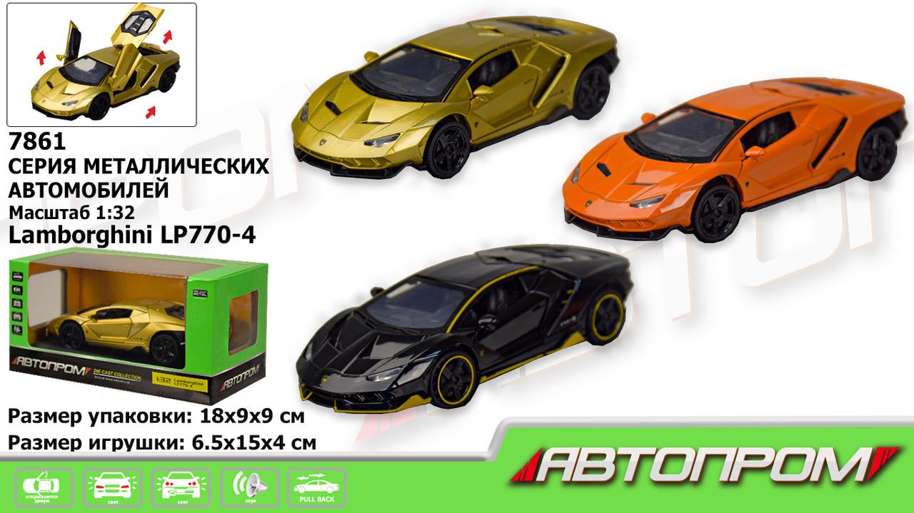 """Машинка """"Автопром"""" Lamborghini LP770-4 батар.,свет,звук,откр.двери,капот., в кор."""