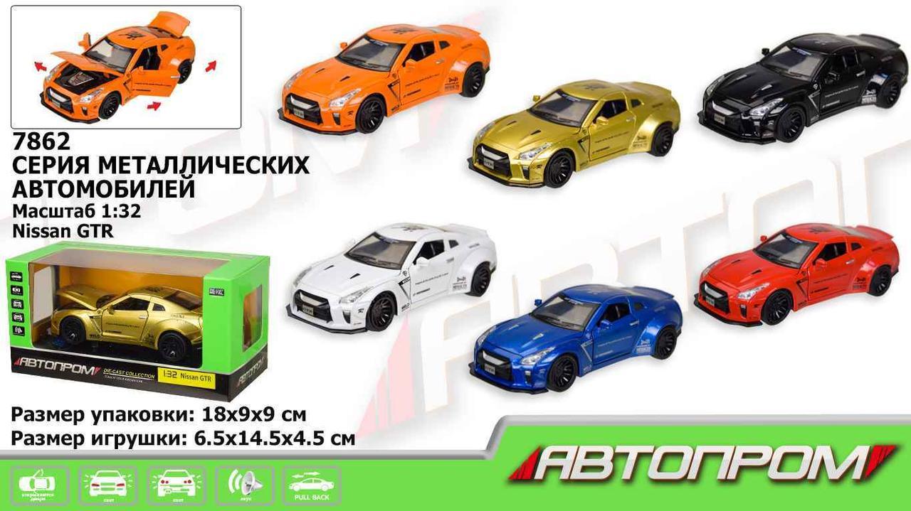 """Машинка """"Автопром"""" Nissan GTR 1:32, 6 цветов, батар.,свет,звук,откр.двери,капот., в"""