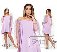 Платье-мини покроя трапеция с оголенными плечами и спущенными рукавами-фонарик из сетки, 3 цвета